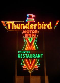 I did the interior design for an old Thunderbird Hotel in the The Jax locals called it the Thunder Turd. I LOVE vintage neon signs. Cool Neon Signs, Vintage Neon Signs, Neon Light Signs, Advertising Signs, Vintage Advertisements, Retro, Neon Licht, Neon Moon, Rare Birds