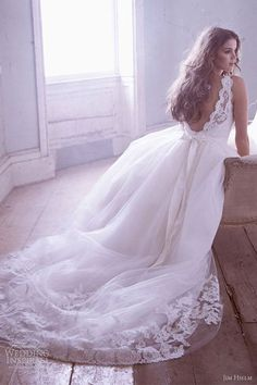 Lacy Trail http://www.illusionbridals.com/a-line-scoop-cathedral-train-9437/  #openback #weddingdress