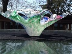 Hand Blown Art Crystal Glass Bowl Multi-Colored Creative Design