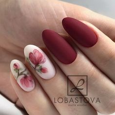 In seek out some nail designs and some ideas for your nails? Listed here is our list of must-try coffin acrylic nails for fashionable women. Flower Nail Designs, Flower Nail Art, Nail Flowers, Nails With Flower Design, Rose Nail Art, Gel Nail Art Designs, Nagel Hacks, Manicure E Pedicure, Manicure Ideas