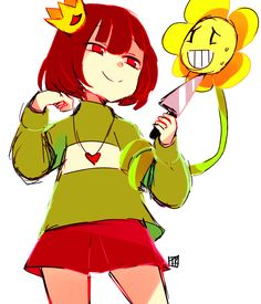 Chara and Flowey | Artist Funkitty
