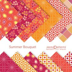 Summer Bouquet digital scrapbook paper pack DP066 by JazzyPatterns, $5.50