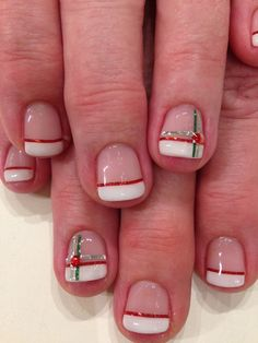25 Unique Xmas Nail Art Stickers – French Manicure in Bio Sculpture Gel with red green & silver striping tape accents Xmas Nail Art, Christmas Manicure, Xmas Nails, Christmas Nail Art Designs, Holiday Nails, Fun Nails, Simple Christmas Nails, Christmas Design, Sparkle French Manicure
