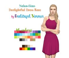 Dress in 46 Recolors / Sims 4 Custom Content
