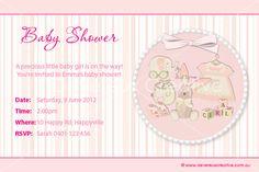 Print your own invitation. Baby Shower Invite - Girl Toys Design