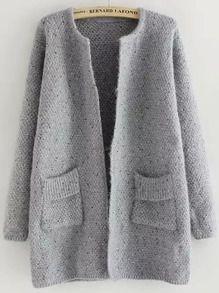 Grey Long Sleeve Pockets Loose Cardigan US$18.54