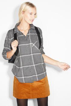 Monki Image 2 of Check shirt in Dark Grey 10