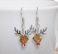 Adorable Rudolph Reindeer Earrings Made with Swarovski Crystal