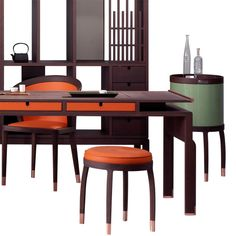 DEON desk and AVRA open cabinet