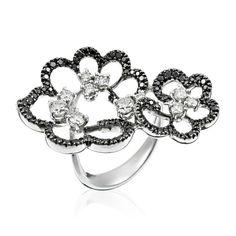 Stefan Hafner Charme 18K White Gold Ring With Black & White Diamonds featured in vente-privee.com