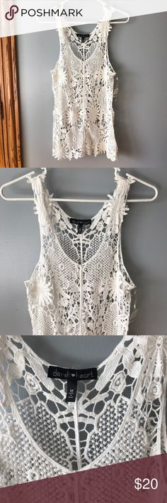 Lace tank Super cute lace tank. Perfect for layering! Size M. NWT Derek Heart Tops Tank Tops
