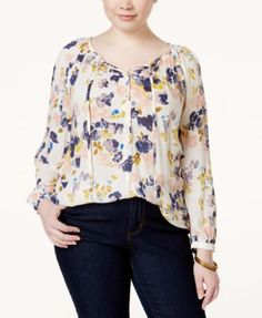 Lucky Brand Plus Size Long-Sleeve Floral-Print Peasant Blouse