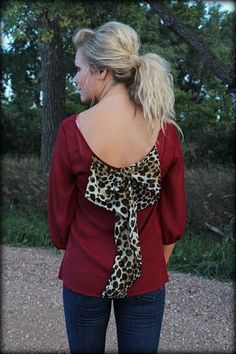Maroon Bow back blouse in cheetah in plus size