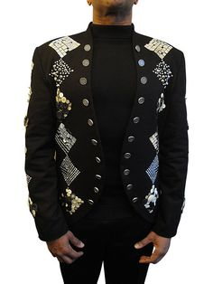 https://www.cityblis.com/6462/item/9939  MORPHEUS - $1257 by Weissenberger - CUSTOMIZED DENIM  MORPHEUS is a slim-fit jacket with two button tabs along the front side and with a nehru lapel.  The extravagant cut jacket is studded on the front and along the sleeves with various elements. The rhombi consist of mirrors, rivets, buttons and rhinestones.  Even the buttons used along the front ...