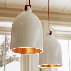 Graham & Green, white and gold light pendants