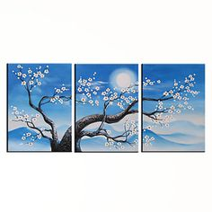 Hand-painted Floral Oil Painting with Stretched Frame - Set of 3 - Free shipping