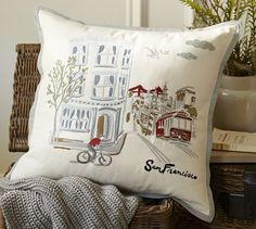 San Francisco Embroidered Pillow Cover | Pottery Barn. Also have Texas, Colorado, London, and others.