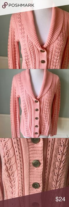 "Spring Cozy J. Jill Cable-knit Cardigan Sweater Perfect for a cool spring day or night! Gorgeous salmon/peach/pink color. Easy to wear and super comfortable and soft.  23"" long from shoulder. 60% Cotton 40% Acrylic J. Jill Sweaters Cardigans"