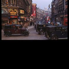 Shaftesbury Avenue from Piccadilly Circus, in the West End of London. Date 1949 Source Kodachrome photograph by Chalmers Butterfield. Via en:Image:London_,_Kodachrome_by_Chalmers_Butterfield. Vintage London, Old London, London Look, Blitz London, London Pride, London Eye, West London, London Pictures, London Photos