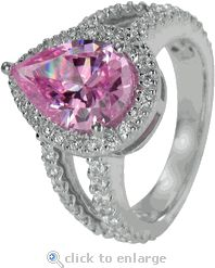 Ziamond Cubic Zirconia Engagement Ring Pear & Pave CZ Split Shank Solitaire 14K White Gold.  The 3 carat Carlton Pear Ring is featured with a pink colored center CZ highlighted by pave set round cubic zirconia.  $1495 #ziamond #cubiczirconia #cz #diamond #pear #pink #jewelry #engagementring #ring #solitaire #weddingring