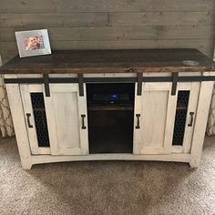 Rustic tv stand media console wood furniture farmhouse, Rustic tv stand, media console, wood furniture, farmhouse, handmade, customized, Fixer upper, living room, family room. home decor, diy decor, shabby chic, rustic, farmhouse, barn doors, entertainment center, tv, cabinet, storage, bedroom decor, basement, etsy, teal, white, cabinet #afflink