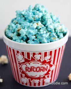love the blue popcorn...but in a different container for baby shower