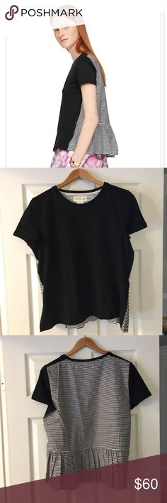 FINAL 💵-- NWT Kate Spade ruffle back tee Adorable Kate Spade tee brand new with tags. Black in front, black and white stripes in back with ruffle at bottom. kate spade Tops