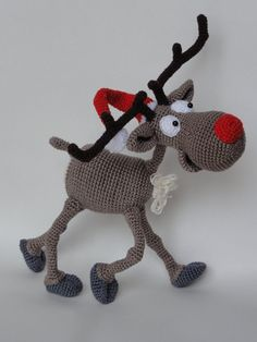 Amigurumi Crochet Pattern - Rudolf the Reindeer  This is a crochet pattern and not the toy.  Following this pattern Rudolf the Reindeer will be approximately 20 cm by 25 cm. The pattern is available in English.  More photos available on Facebook: https://www.facebook.com/media/set/?set=a.685742328102953.1073741866.550384588305395&type=3 Or check out IlDikko website: http://ildikko-crochet.com  After completion of your order the PDF file containing the pattern can be downloaded immediately…