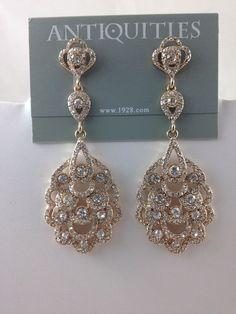 1928 Jewelry Co. Earrings Rhinestones Gold tone Chandelier drop/dangle -New #1928JewelryCo #Chandelier