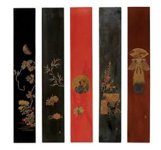 A complete set of five lacquer tanzaku (poem-cards) by Shibata Zeshin (1807-1891), Meiji Period.