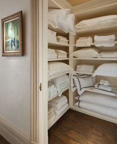 If your home has got no linen closet, you can still call it beautiful with these amazing linen storage ideas. Airing Cupboard, Linen Cupboard, Linen Closet Organization, Closet Storage, Organization Ideas, Bathroom Organization, Storage Ideas, Cupboard Storage, Shelf Ideas
