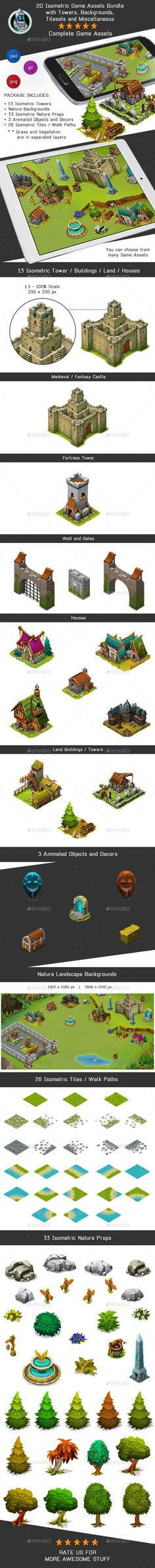 Isometric Game Kit 2 of 3 - Towers, Background, Tilesets & more Download herE: https://graphicriver.net/item/isometric-game-kit-2-of-3-towers-background-tilesets-more/17197844?ref=KlitVogli