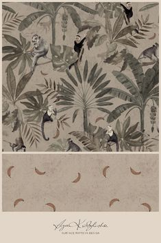 """Monkeys"" - a surface pattern design collection, hand illustrated by Aga Kobylińska, featuring monkeys beetween palm trees, in the earthy colours. Prints available on baby products (bedding, clothes, mom's bags) of Makaszka brand. (makaszka.pl) Textile Design, Fabric Design, Earthy Colours, Palm Fronds, Paper Illustration, Aga, Surface Pattern Design, Baby Products, Monkeys"