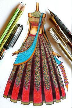 MOHHO by A&N #indianbride #bridal #sketches #handdrawn #illustration #fashionsketch #staedtler #pastel #bridal #bride #sketch #staedtler #pastel #charcoalpencil #gelpen #watercolor Dress Design Drawing, Dress Design Sketches, Fashion Design Sketchbook, Fashion Design Portfolio, Fashion Design Drawings, Fashion Illustration Tutorial, Fashion Drawing Tutorial, Dress Illustration, Fashion Illustration Dresses