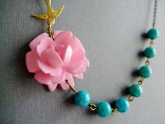Flower Necklace,Shabby Chic Jewelry,Bridesmaid Jewelry,Turquoise Necklace,Pink Jewelry (Free matching earrings). $32.00, via Etsy.