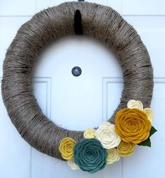 Rustic felt rose wreath by handmadecolectibles on Etsy