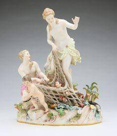 A Meissen porcelain figural group, Capture of the Tritons