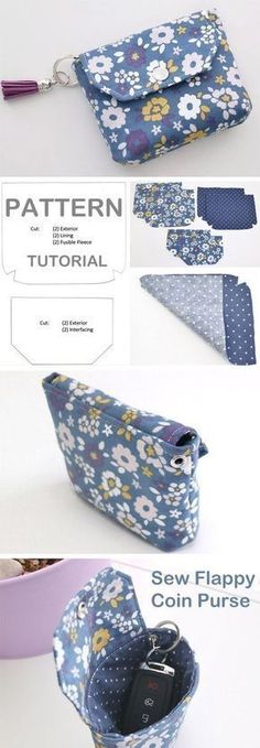 DIY Flappy Coin Purse Tutorial http://www.free-tutorial.net/2017/10/flappy-coin-purse-tutorial.html #diypurse
