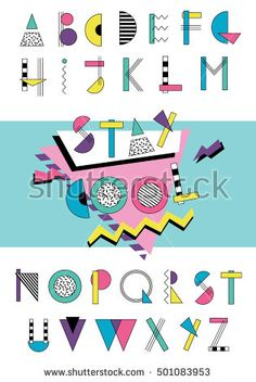 Hand drawn abstarct alphabet. Colorful funny font in retro memphis style. 80s - 90s abc