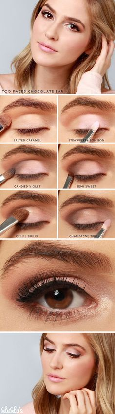 "Using Too Faced Chocolate Bar Palette to apply eye shadow.  But you could also use it as inspiration with eye shadow that you already own using ""similar shades""."