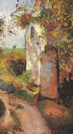 """Camille Pissarro (1830-1903) ~ """"Pontoise, Paysan dans une ruelle à L'Hermitage, la """"Maison Rondest"""", 1876 (Détail) ~ Huile sur Toile originale 46 x 38 cm"""
