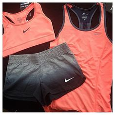 Work out clothes>> shorts, sports bras, tank tops, leggings