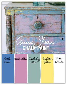 COLORWAYS You will have to mix Pure White with these colors of Annie Sloan Chalk Paint to recreate the worn look of this vintage chest.