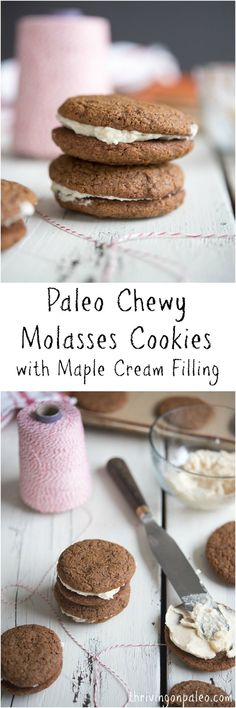 Paleo Molasses Cookies with Maple Cream Filling - a gluten-free and dairy-free cookie recipe that is perfect for Christmas and the holidays!