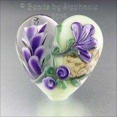 purple glass hearts | PURPLE AND GREEN Heart Glass Bead Lampwork by beadsbystephanie, $38.00