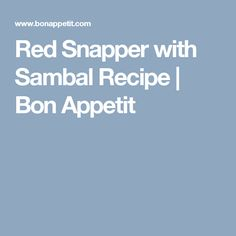 Red Snapper with Sambal Recipe   Bon Appetit