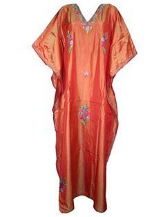 Indie Boho Long Kaftans Kashmiri Embroidered Orange Caftan Maxi Dress Mogul Interior http://www.amazon.com/dp/B00PZN8O1E/ref=cm_sw_r_pi_dp_YPvCub1DHCWHT