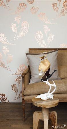 New Metallic Wallpaper Living Room Decor 17 Ideas Living Room Decor, Bedroom Decor, Wall Decor, Bedroom Ideas, Diy Wall, Living Rooms, Wall Art, Metallic Wallpaper, Feather Wallpaper