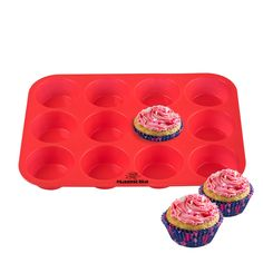 Silicone Cupcake and Muffin Pan - 12 Cup Silicone Muffin and Cupcake Baking Pan / Non - Stick / Dishwasher - Microwave Safe -- SPECIAL OFFER AHEAD! : Baking pans