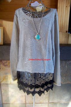 Cowgirl extender lace sheer knit top